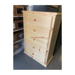 Dresser 5 Drawers Available In 3 Colors 😌 Pine Wood $199 Each for Sale in Bell Gardens,  CA