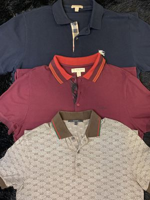 Authentic Designer Polos Shirts (2 Burberry & 1 Gucci) for Sale in Chicago, IL