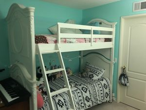 White princess twin bunk bed and dresser/ mirror set for Sale in San Diego, CA