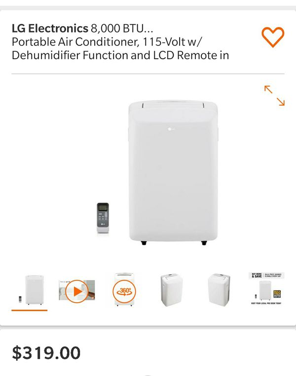 LG Electronics 8,000 BTU (5,500 BTU,DOE) Portable Air Conditioner, 115-Volt w/ Dehumidifier Function and LCD Remote in White