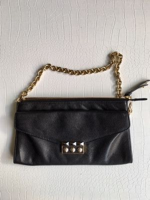 Henri Bendel Black Pebbled Leather Bag Purse Gold Chain Strap for Sale in Philadelphia, PA