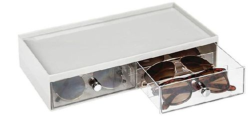 Wide Stackable Plastic Eye Glass Storage Organizer Box Holder - 2 Divided Drawers, Chrome Pulls - Light Gray/Clear for Sale in Lincoln Acres,  CA