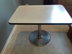Restaurant grade Heavy dudy iron base table will seat for for Sale in Lake Villa, IL