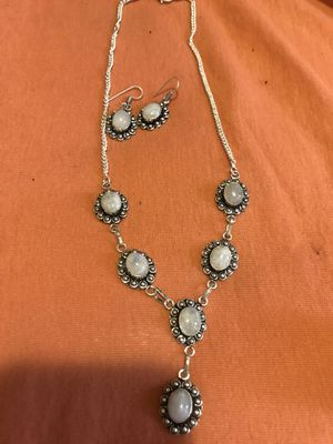 Sterling silver rainbow moonstone necklace and earrings set for Sale in Saint Petersburg, FL