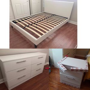 New queen bed frame and dresser and nightstand for Sale in Hialeah, FL