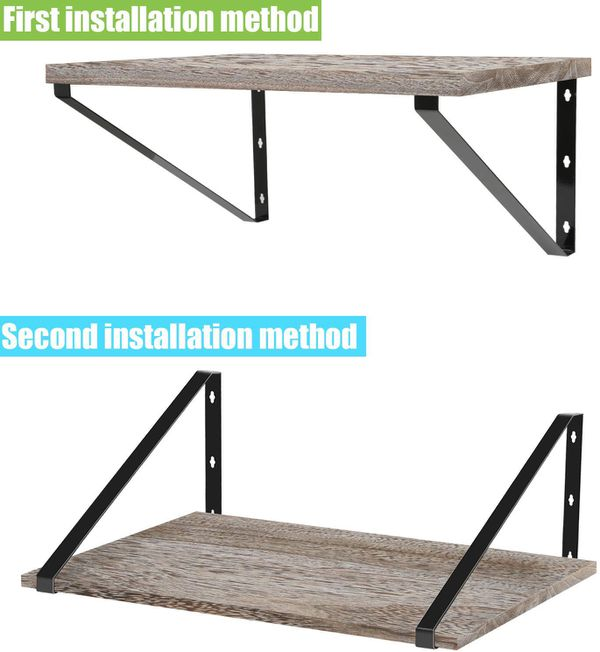 """Floating Shelves Wall Mounted-Rustic Wood Wall Shelves with Large Storage(L 17"""" x W 11.8""""), for Bedroom, Living Room, Bathroom, Kitchen, Office with"""