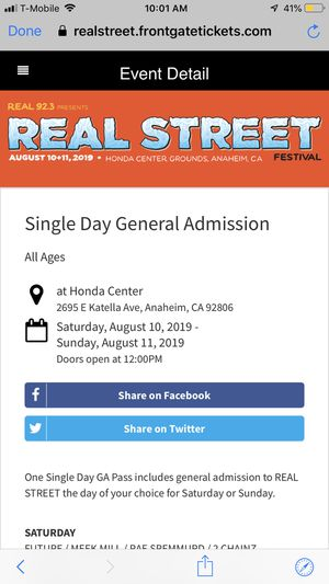 Real street fest tickets for Sale in Long Beach, CA