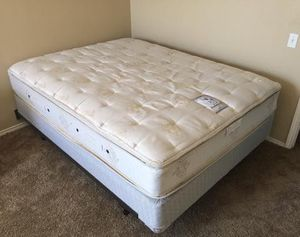 Queen bed : Sealy PosturePedic pillow-top mattress ,Box and metal frame from clean smoke free home . No stains for Sale in Murphy, TX