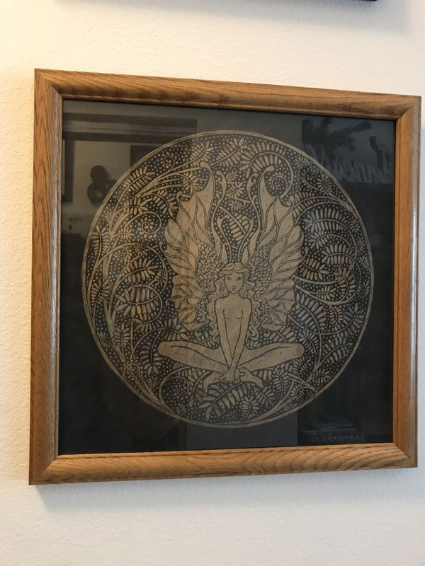 Large 16 x 16 Decorative Fairy Drawing in Oak Frame