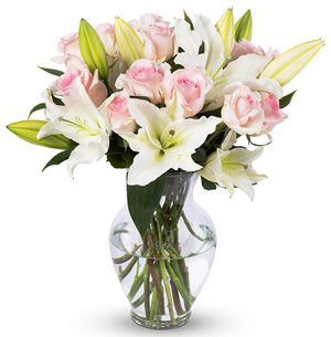 ight Pink Roses and White Oriental Lilies, With Vase (Fresh Cut Flowers) For Her On Valentines Day for Sale in Henderson, NV