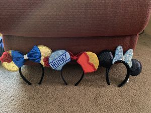 Disney Minnie Mouse Ears ($12.50 each) ($35 for all 3) for Sale in Brentwood, CA