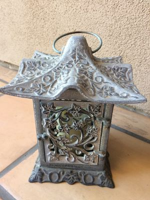 Partylite indoor/outdoor candle lantern. Beautiful gray-green color. for Sale in Escondido, CA