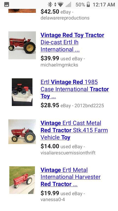 Vintage 1950 Red Tractor Toy