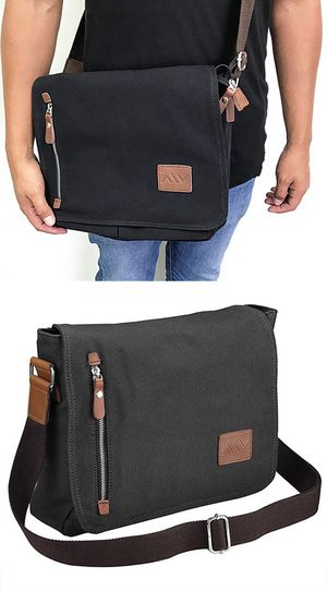 "$20 NEW Men Women 14"" Vintage Canvas Cross Body Schoolbag Satchel Shoulder Messenger Bag (Black) for Sale in Pico Rivera, CA"