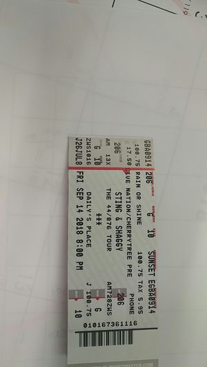 Sting and shaggy tickets hard copies for Sale in Jacksonville, FL