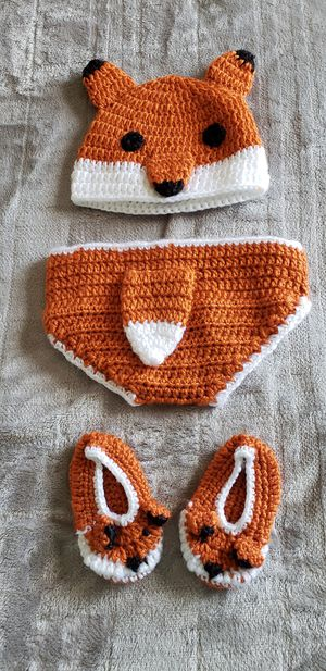Crocheted Hat, Diaper Cover & Booties - Fox for Sale in Ramona, CA