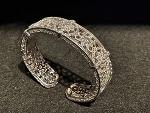 Amazing Detail Judith Ripka Sterling Silver .925 Diamonique Hinged Cuff Bracelet for Sale in Los Angeles, CA