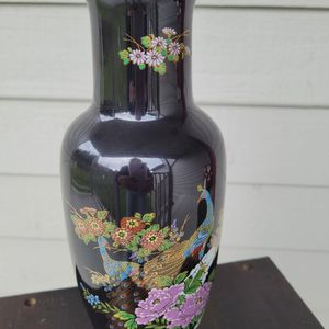 Vintage Japanese Black Vase With Blue and Gold Peacock and Floral Decoration for Sale in Everett, WA