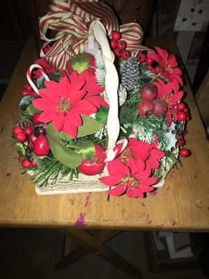 Vintage Christmas table decor faux poinsettias basket for Sale in Warner Robins, GA