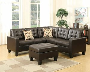 No credit needed espresso color bonded leather sectional includes Ottoman and accent pillows for Sale in College Park, MD