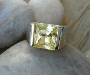Silver chrome green stone ring size 6 for Sale in Elgin, IL