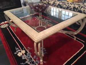Wide size Coffee table with glass top and metal body new condition for Sale in Durham, NC