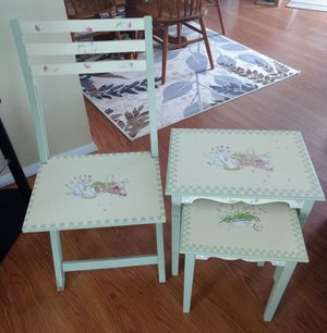 Garden chair and two stackable tables for Sale in Marquette, MI