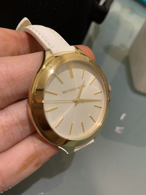 Mk white leather band watch brand new with box for Sale in West McLean, VA
