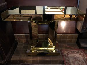 Gold Beveled Mirror Rolling Console Table for Sale in Las Vegas, NV