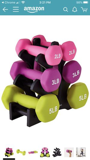 Set of exercise in dumbbell weights with stand for Sale in Hillsborough, CA