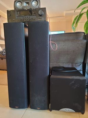 Home theater Klipsch SF3 floor speakers, Klipsch Sub and Yamaha Receiver for Sale in La Mesa, CA