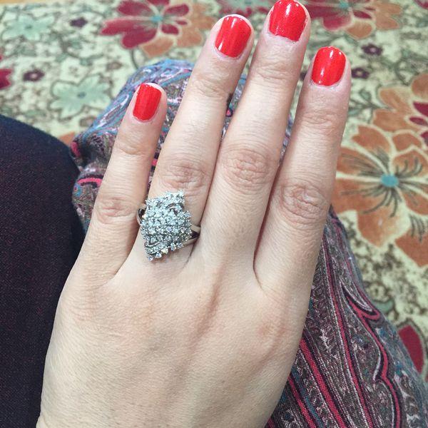 Stimulated Diamond silver wedding engagement ring