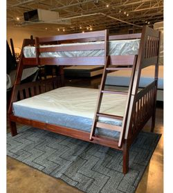Twin Over Full Cappuccino Bunk Bed Set With Plush Mattress Included for Sale in Austin,  TX