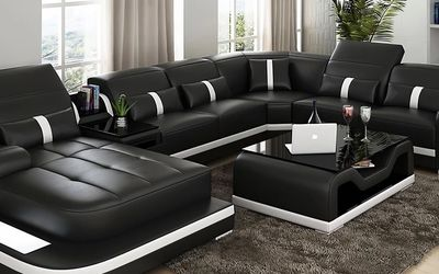 Sydney White & Black Large Leather Sectional Left Arm Facing Chaise with Coffee Table for Sale in Jersey City,  NJ