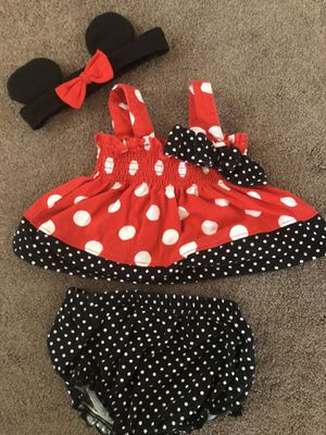 0-3 months Minnie Mouse outfit with headband for Sale in Henderson, NV