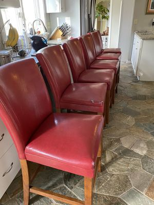 6 Red counter height dining chairs for Sale in Cleveland, OH