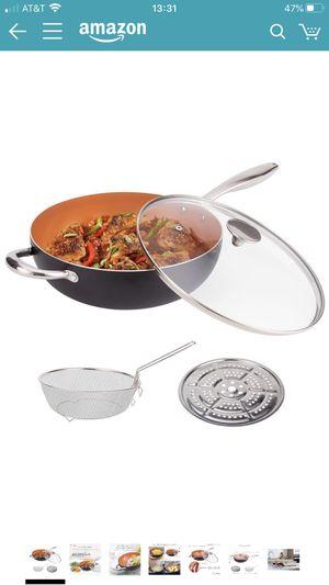 MICHELANGELO 5 Quart Nonstick Woks and Stir Fry Pans With Lid, Frying Basket & Steam Rack, Nonstick Copper Wok Pan With Lid, Ceramic Wok With Lid, No for Sale in San Leandro, CA