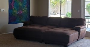 9ft Couch with Chaise & Ottoman for Sale in Chandler, AZ