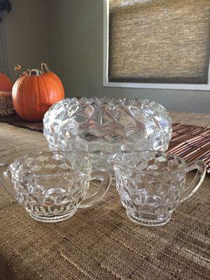 Antique cut glass/crystal bowl /creamer/sugar for Sale in Brea, CA