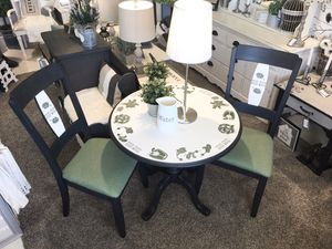 Table chairs seating eating upholstery dining room kitchen living painted furniture artisan for Sale in Newport News, VA