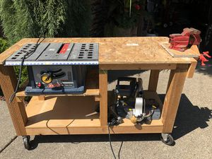 Table saw, chop saw, and working table all together for Sale in Vancouver, WA