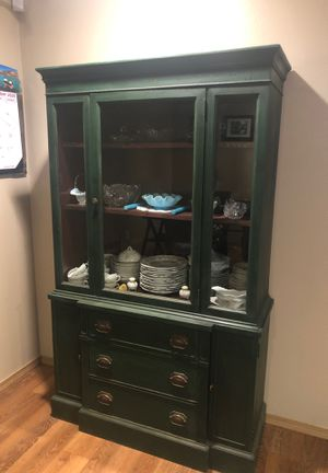 Green Antique Hutch/China Cabinet for Sale in Newberg, OR