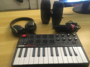 MUSIC PRODUCTION SETUP(Akai mpk mini, Logitech speakers, Fifine usb mic, headphones) for Sale in Feasterville-Trevose, PA