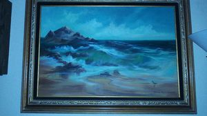 Hand painted beach in frame best offer for Sale in Salt Lake City, UT