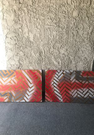 Beautiful gold, red and grey paintings! for Sale in Los Angeles, CA
