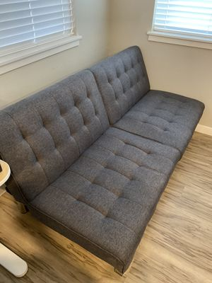 DHP Emily Futon With Chrome Legs, Grey Linen for Sale in Portland, OR
