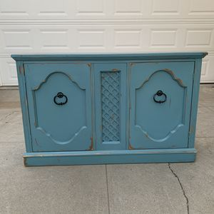 Awesome blue and black shabby distressed cabinet drawer shelf entryway table side table for Sale in San Diego, CA