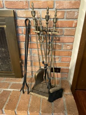 Antique solid brass fireplace tool set with stand for Sale in Longwood, FL