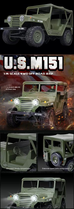 Brand New In Box 4x4 US M151 Jeep RC Remote Control 1/14 scale 1:14 Military RTR Off-Road Truck Flat Fender 2.4 GHZ 4wd for Sale in Avocado Heights, CA
