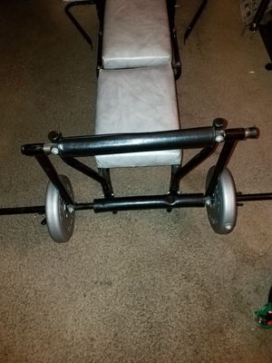 Multi Functions Weight Bench With Two Barbells And Over 100lbs Weight for Sale in Denver, CO